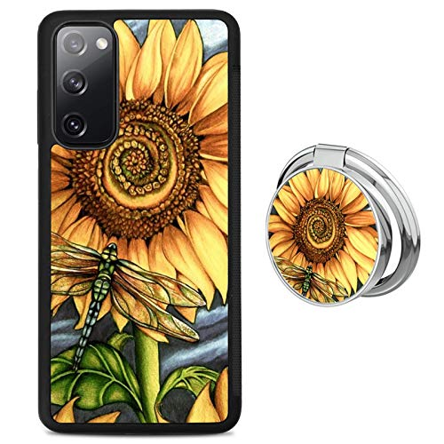 Sunflower and Dragonfly Samsung Galaxy S20 FE 5G Phone Case with Ring Holder Stand, Shockproof Soft TPU Premium PC Protective Bumper 360 Degree Rotation Ring Stand for Samsung Galaxy S20 FE 5G-Black