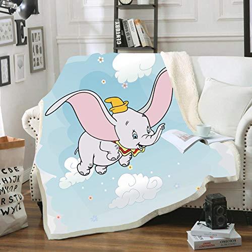 HGKY Disney Dumbo Babydecke, Premium-Flanelldecke für Erwachsene, weich, warm, gemütlich, Decke für Sofa, Couch, Kinder, Erwachsene, Polar-Flanelldecke (E, 100 x 140 cm)