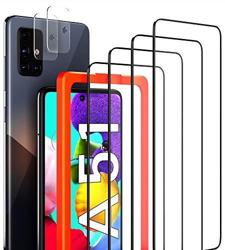 [4 Stück] LYMANO Panzer-Folie Glas Full Screen für Samsung Galaxy A51 Schutzfolie Schutzglas Folie Display (6,5 Zoll) + [2 Stück] Kameraschutz Kamera Linse
