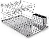 Home Intuition 2-Tier Steel Dish Drying Rack Set 18.5' x 12.5' x 9.5', Chrome