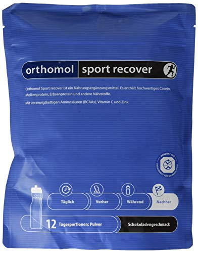 Orthomol Sport Recover - Proteinshake aus Casein & Molkeprotein Pulver - Proteinpulver mit BCAA - Nahrungsergänzungsmittel Regeneration & Muskelaufbau