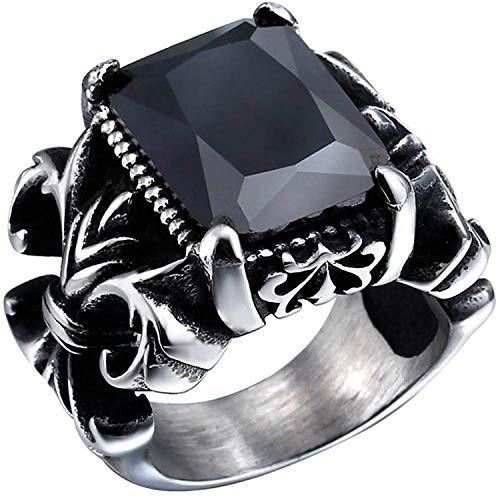 ZMlWToer Herren Edelstahl Black Crystal Dragon Claw Ritterkreuz Blumen Gothic Vintage Ring