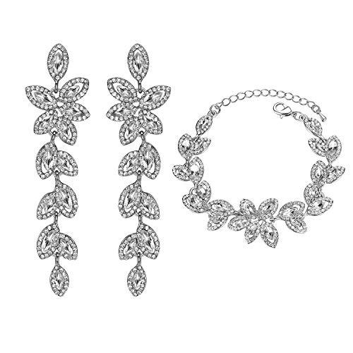 mecresh WomenLeaf-Shape Earring et Bracelets Parures de Bijoux de mariée Cristal Strass Cadeaux de Noël C