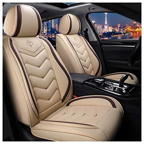 JDWBT Autositzbezüge Set Leder,Autositzschoner Set Universal,Schonbezüge Auto Komplettset 5-Sitze,Sitzbezüge Auto-Beige (beige)