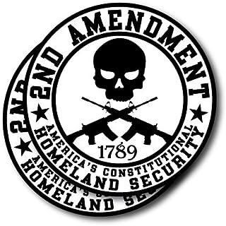 2nd Amendment Homeland Security; Round Bumper Sticker 2pk