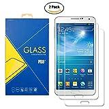 [2 Pack] Protector Cristal Vidrio Templado Samsung Galaxy Note 3 ( SM-N9005 / N9000 / 9005 / 9000 / N900 ) – Pantalla Antigolpes y Resistente al Rayado