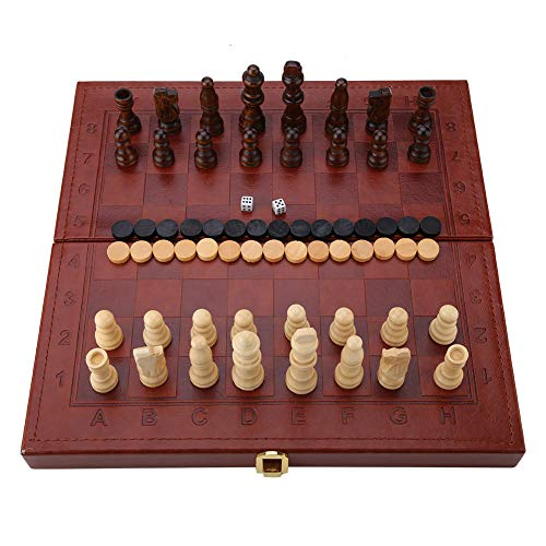 Juego de ajedrez de Madera 3 en 1 y Juego de Damas y Backgammon con Estuche Plegable para niños Juego de Mesa portátil, 11.61 * 11.61in