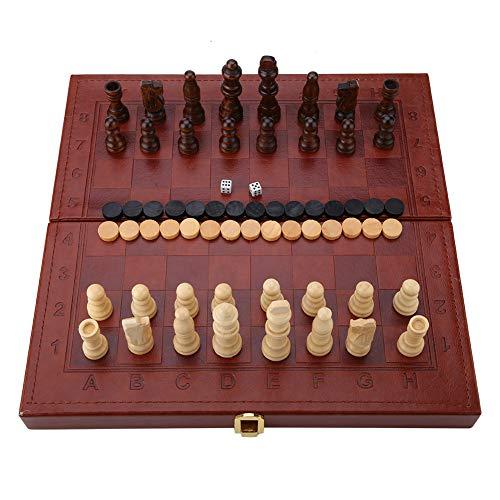 Juego de ajedrez de Madera 3 en 1 y Juego de Damas...