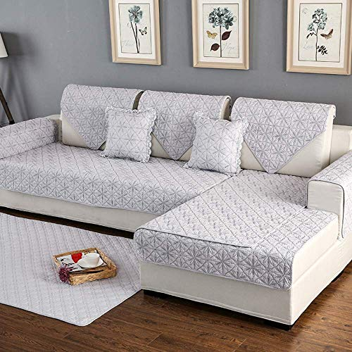 GAOZHEN Sofa Cover Cushion Pure Cotton Slipcovers 1/2/3/4 Seater Armchair Loveseat Couch Covers Soft Comfortable Sofa Towel Protection Mat For Corner L Shape Settee,Grey4-110×160cm(43×63inch)