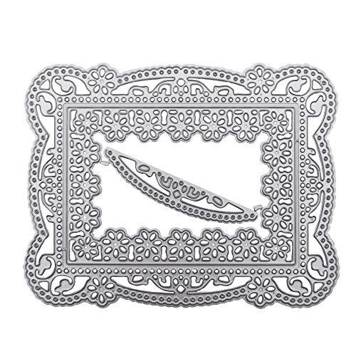 Troqueles de Metal con Diseño de Flores, Plantillas de Corte de Flores de Encaje Cuadrado para Bodas, Troqueles, Álbum de Fotos, Álbumes de Recortes, Tarjetas, Suministros (A)
