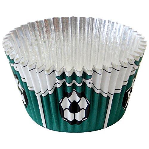 PME BC767 Foliengefütterte Backförmchen für Cupcakes, Motiv Grüner Fußball, Standardgröße mit tieferer Füllung, Packung mit 30 Stück, Kunststoff, Green, 7 x 7 x 2.8 cm, Einheiten