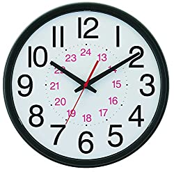 Tempus Wide Profile Wall Clock with 24 Hour Dial and Daylight Saving Time Auto-Adjust Movement, 13.75, Black