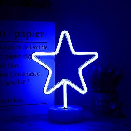 bleu et rose fonctionne avec USB ou piles d/écoration de chambre /à coucher mariage f/ête Danolt Neon Light Planet Signs LED n/éon pour mur