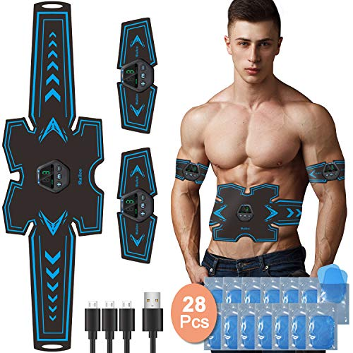 Railee Elettrostimolatore per Addominali, Elettrostimolatore Muscolare Professionale EMS Stimolatore Muscolare con USB Ricaricabile per Addome/Braccio/Gambe, 10 modalità e 20 Livelli di Intensità