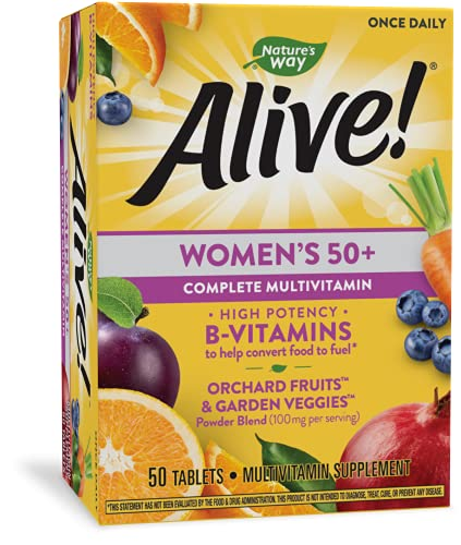 Nature's Way, Nature's Alive Women's 50+ Complete Multivitamin High Potency BVitamins Tablets, Natural, 50 Count