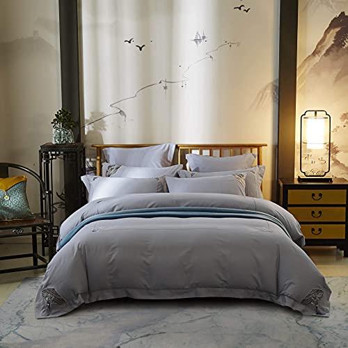 N/Z Wohnausrüstung Vierteilige Baumwollbettwäsche Chinesische Stickbettwäsche-Sets Seidige, ultraweiche, Falten- und lichtbeständige chinesische Bettbezug-Kissenbezug-Bettdecke Grau 1,5 m