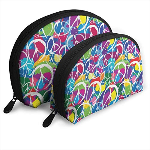 Universal Peace Sign Symbol Portable Bags Clutch Pouch Coin Purse Cosmetic Travel Storage Bag 2Pcs Handbag