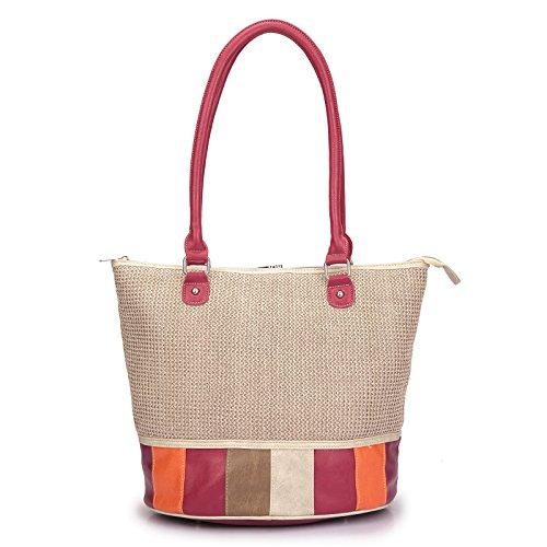 noi-noi Paloma beige raffia/pink multicolor - moderne Damenhandtasche/Handtasche für Damen mit Griff und abnehmbaren Schultergurt