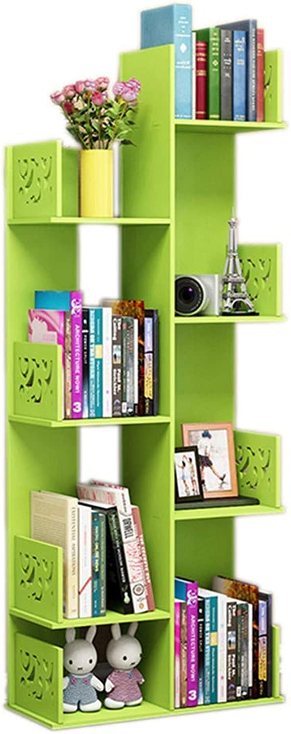 Bookcase - Ledge Wooden Wall Bookshelf Bookcase Wardrobe Bookcase Bedroom Wall Hanging Decoration Creative Pulley Bookcase Simple Bookshelf,Green