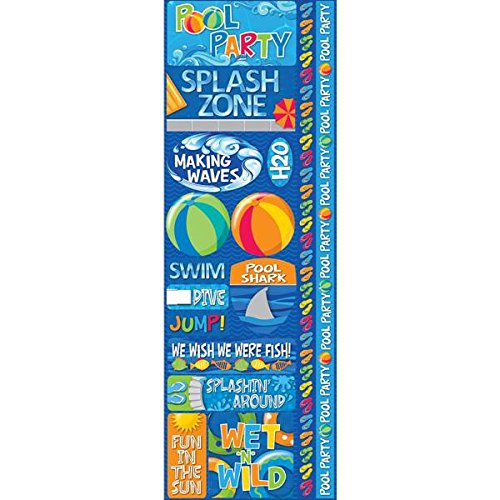 Reminisce Signature Series Cardstock Combo Stickers, 4.25 by 12-Inch, Pool Party