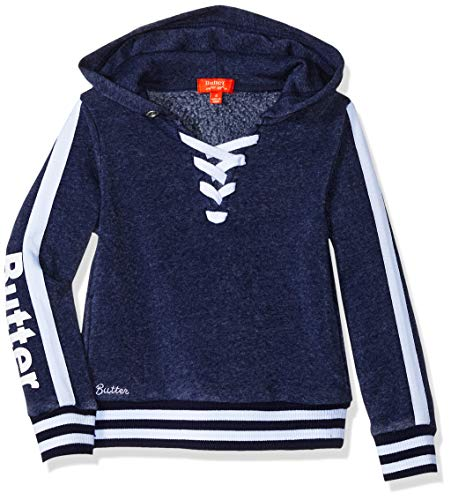 Butter Girls' Little Mineral Wash Lace up Pullover Sweatshirt, Navy, 4
