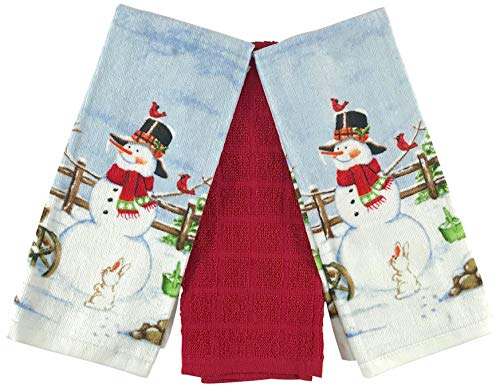 Christmas Holiday Kitchen Towels: Jolly Snowman Cardinal Bird Animal Friends Rustic Fence Design (Country Snowman)