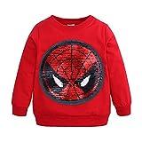 Camiseta para Niño Spiderman Camisas Infantiles de Ropa Sudaderas Niña Invierno Chandal Niños Sudadera con Capucha Tops T-Shirt (B Red,120cm)