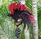 Rainview Creations Extra Large Hawaiian Warrior Ikaika Makaki'i Coconut Shell Feather Helmets (Red)
