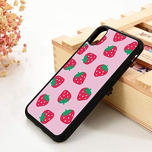 WGOUT para iPhone 5 5S 6 6S Funda de Gel de sílice de TPU Suavepara iPhone 7 Plus X XS 11 Pro MAX XR Pink Strawberry Pola, para iPhone 6S