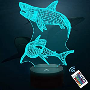 Lampeez Kids 3D Shark Night Light Optical Illusion Lamp with 16 Colors Remote Control Changing Birthday Gift Idea for Boys and Girls