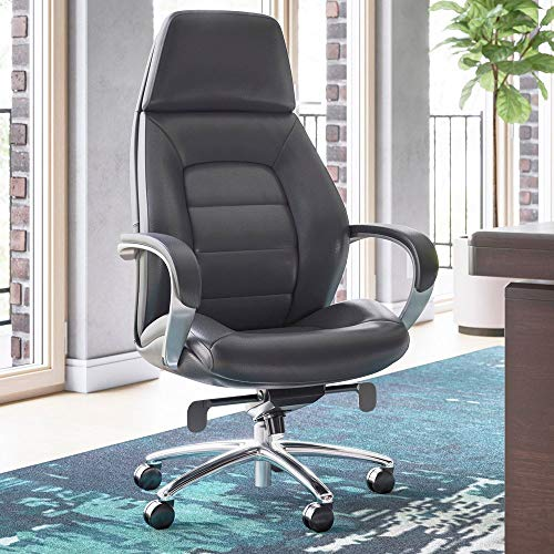 Gates Genuine Leather Aluminum Base High Back Executive Chair - Dark Grey