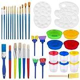 STOBOK 37 piezas de kits de pintura | Niños aprendizaje temprano niños pintura Set de pintura, esponja, pinceles de pintura para niños, kit de pintura temprana DIY aprendizaje grafiti kit