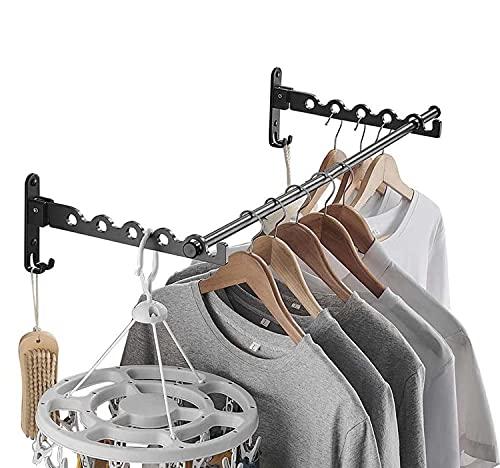 FChome Percha de lavandería, secadora de ropa, soporte de pared, ganchos para cuarto de lavandería, ganchos de pared para ropa, perchas plegables de acero inoxidable, organizador...