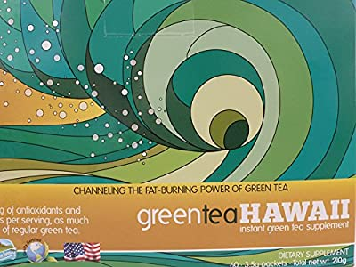 Green Tea Hawaii (Original) Powder with Noni, 60 Packets, 540 mg of Antioxidants/Polyphenols, Non-GMO, Vegan Friendly, Gluten Free All Natural Tasty Drink