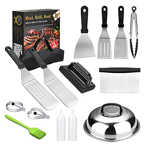 Griddle Accessories, 15PCS Flat Top Grilling Accessories Kit with Spatula, Basting Cover, Scraper, Bottle, Tongs, Egg Rings & Carry Bag, BBQ Accessories Grill for Men Women Outdoor Camping