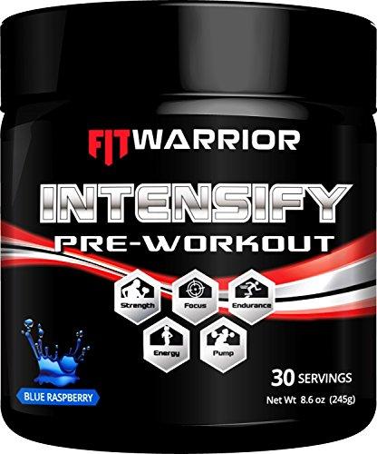 INTENSIFY Preworkout [30 Serv, Blue Rasp.] CarnoSyn© Beta-Alanine, Mucuna L-Dope Dopamine Enhancer, Carnitine, Citrulline & Arginine Nitric Oxide Boosters to Increase Energy, Power, Focus 8.6oz Powder