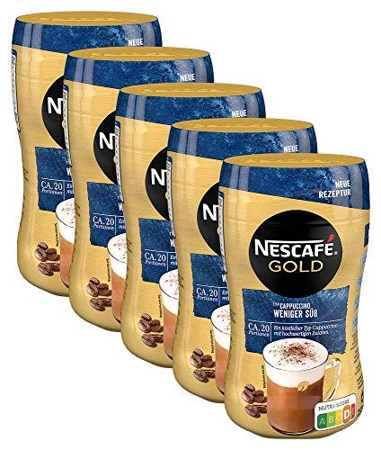NESCAFÉ Gold Typ Cappuccino Weniger Süß, Getränkepulver aus löslichem Bohnenkaffee, koffeinhaltig, 5er Pack (5 x 250g)