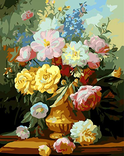DMLGQ DIY-DA-TE Digitale schilderset, olieverfschilderijen, thuisdecoratie, schilderij om te vullen op canvas, 40 x 50 cm, bloemen in bloempot Incorniciato