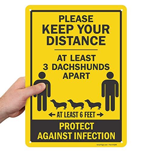 SmartSign Maintain 6 Feet Distance Sign, Social Distancing Sign, Funny at Least 3 Dachshunds Apart Message | 10x14 Inches Plastic, Weather-Proof, Indoor/Outdoor Use, 55 Mil Thick, Made in USA