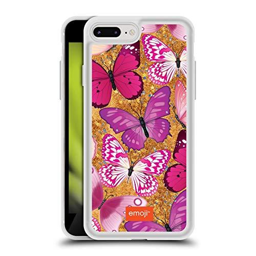 Head Case Designs Oficial Emoji Rosa y Morado Mariposas Caso de Purpurina Líquido Híbrido Transparente Compatible con Apple iPhone 7 Plus/iPhone 8 Plus