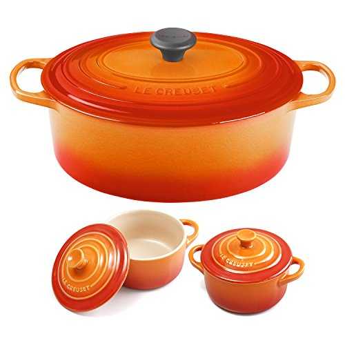 Le Creuset Signature Flame Enameled Cast Iron 6.75 Quart Oval French Oven with 2 Free Stoneware Cocottes