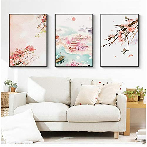 Unbekannt Japan Stil Kirschblüten Tempel Frühling Rosa Blume Leinwand Malerei Poster Wandkunst Bild Für Wohnzimmer Mädchen Wohnkultur-40x60 cm Kein Rahmen