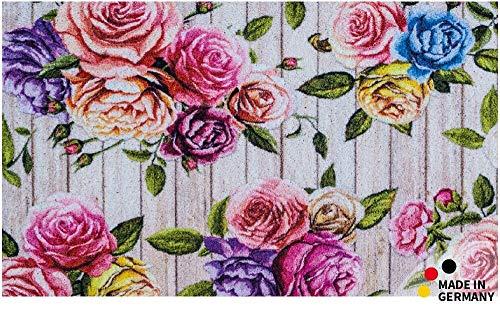 matches21 HOME & HOBBY deurmat vloer schraper vuil absorberende vuil mat roos bloemen op houten planken 65x110 cm wasbaar