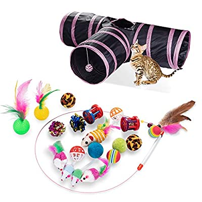 21 PCS Cat Interactive Toys - Kitten Tunnel Toy Assortments Feather Wand Fun Ball Chew Sticks, Fluffy Mouse, Fake Mice, Crinkle Balls, Bell Play Supplies for Kitten (3way-pink)