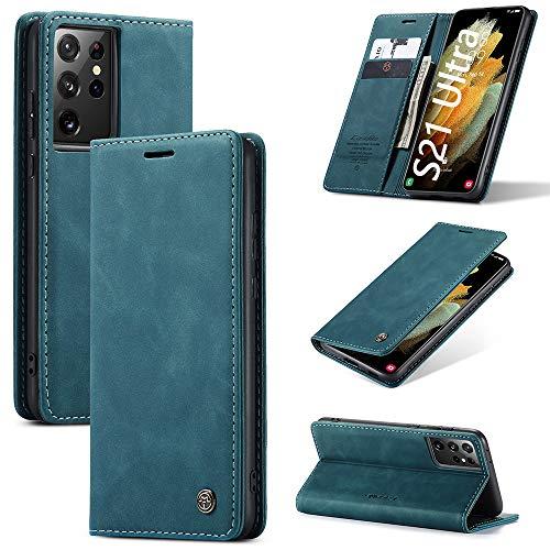 KONEE Hülle Kompatibel mit Samsung Galaxy S21 Ultra 5G, Lederhülle PU Leder Flip Tasche Klappbar Handyhülle mit [Kartenfächer] [Ständer Funktion], Cover Schutzhülle für Galaxy S21 Ultra 5G - Blaugrün