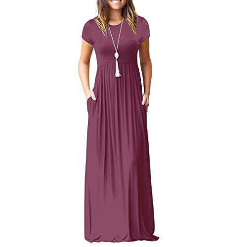 bb7425766fc AUSELILY Women Short Sleeve Loose Plain Casual Long Maxi Dresses with  Pockets
