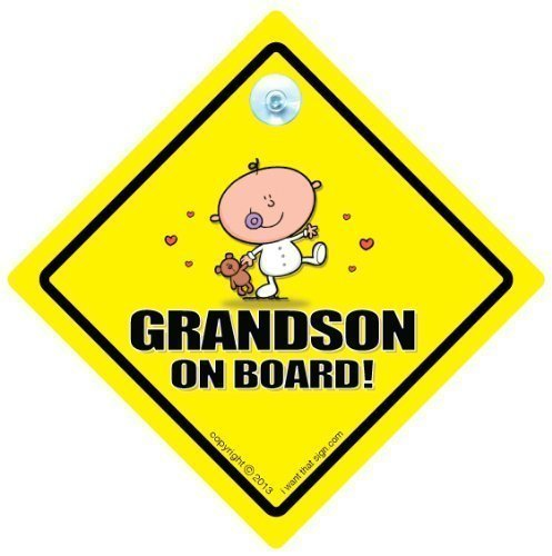 Grandson On Board, Grandson On Board, panneau bébéà bord, petit-enfant voiture Panneau, en voiture, fenêtre de voiture Panneau, panneau bébé