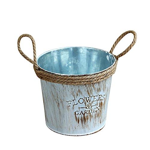ToDIDAF Vintage Metall Eisen Fass Blumentopf, hängende Pflanzer für Sukkulenten/Blumen/Zimmerpflanzen, Balkon Garten Bonsai Home Office Dekoration (L: 11x12cm)