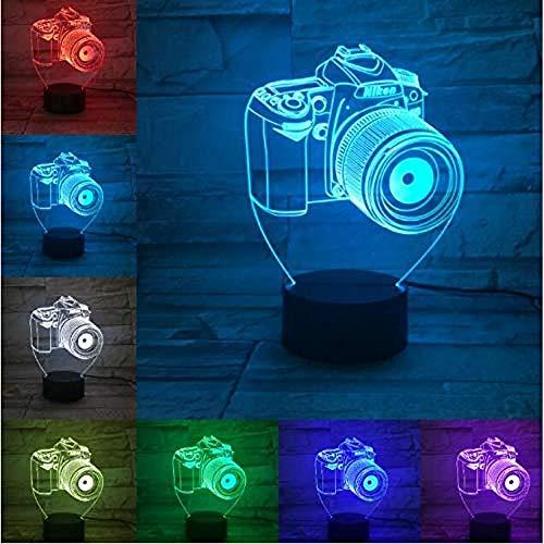 Regalos 3D Acrílico Entretenimiento Cámara Ilusión Lámpara LED Lámpara de mesa USB Luz de noche RGB Lámpara de decoración romántica junto a la cama