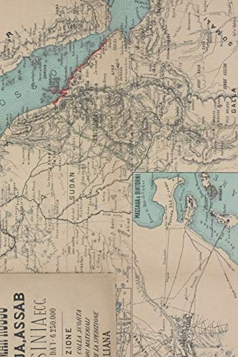1887 Map of Egypt, Sudan, Eritrea, Ethiopia, Somalia, the Red Sea, and Saudi Arabia - A Poetose Notebook / Journal / Diary (50 pages/25 sheets)